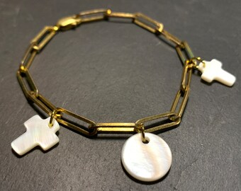 Vintage chain bracelet and mother-of-pearl