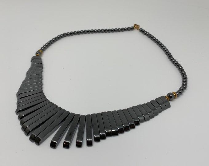 80's Vintage Hematite Necklace