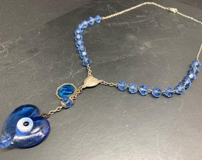Blue rosary necklace, Matiasma and Lourdes Vintage medal