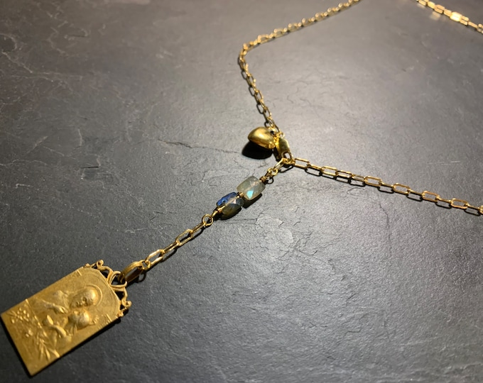 Y gold necklace, Vintage and Labradorite medals