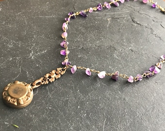 Amethyst necklace and antique medallion