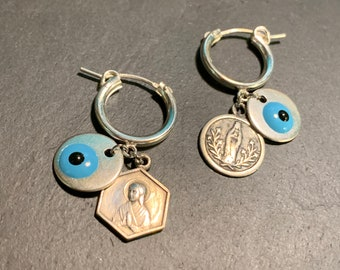 Mini silver creoles, Matiasma and Vintage medals