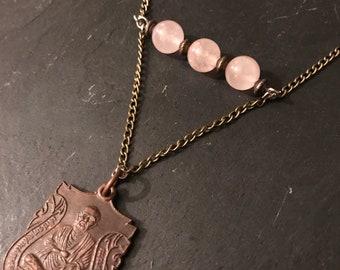 Pink Quartz and Thai amulet necklace