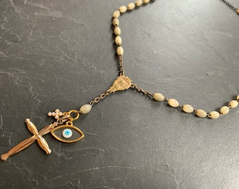 Necklace in Vintage Rosary, Cross and Matiasma