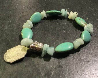 Bracelet with amazonite and magnesite, buddha and St. anne d'Auray vintage