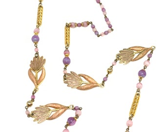 80's sautoir necklace with enamelled flowers and purple beads