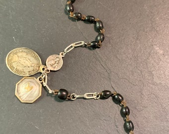 Rosary bracelet and vintage silver medals