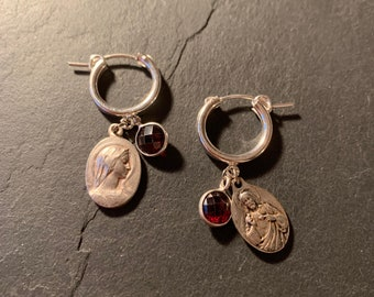 Mini silver creoles, antique medals and garnets