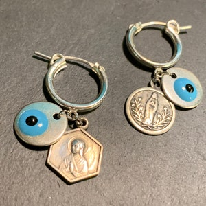 Silver chain Matiasma and vintage owl. old Virgin medals