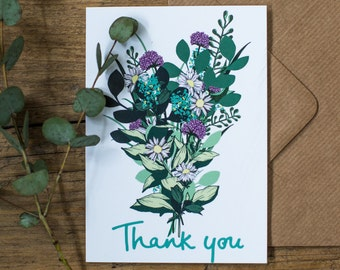 Thank You! Thank You Bouquet Illustrated Floral Botanical Flowers Greetings Card