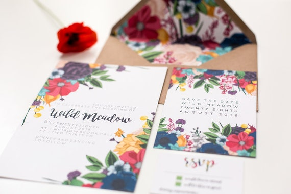 Bright Wedding Invitations: Bright Wild Flowers Boho Wedding Invitations Botanical