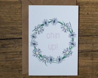 Chin up! Botanical Floral Illustrated Get Well Soon Greetings Card