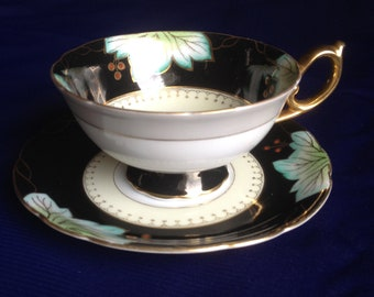 1950's Vintage Shafford Black with Green and Gold Laurel Leaf Cup and Saucer, Made In Japan
