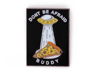 Pizza UFO Lapel Pin - Pizza Abduction Enamel Pin Badge