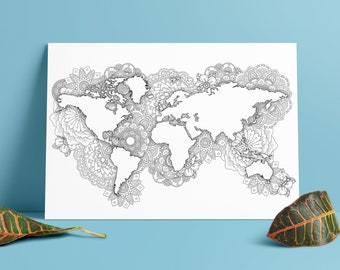 World map coloring etsy coloring world map a3 mandala wall art wanderlust gift world map poster big world map wall print black and white world map wall art gumiabroncs Images