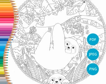 Sloth Coloring Pages Adult Book Printable For Adults Lineart Print PDF Download