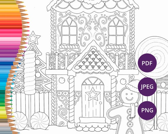 Christmas Gingerbread House Coloring Pages.Christmas Coloring Pages Gingerbread House Printable Colouring Pages For Adults Festive Download Xmas Colouring Print Winter Coloring