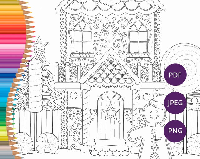 Christmas Coloring Pages Gingerbread House Printable