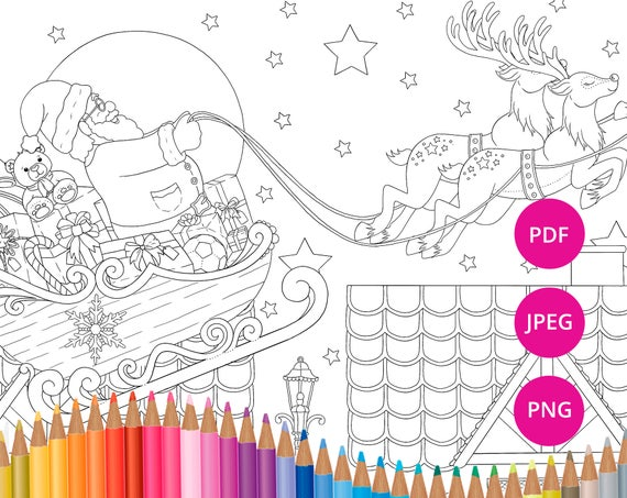 Santa and his reindeers PDF coloring page Father Christmas