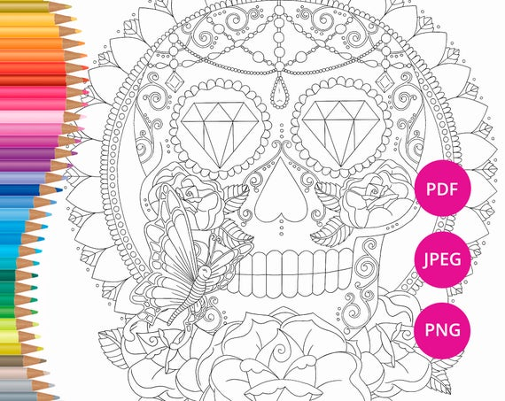 Sugar Skull Coloring Page For Adults Halloween Coloring Etsy