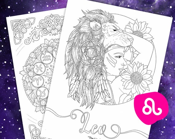 - Leo Coloring Page From Faces Of The Zodiac Printable Adult Etsy