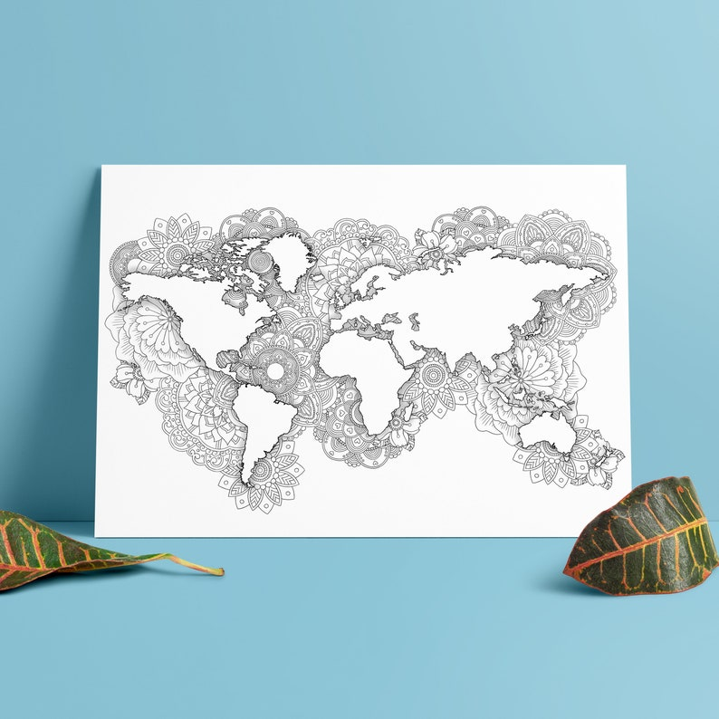 Coloring World Map A3 Mandala Wall Art Wanderlust Gift Etsy