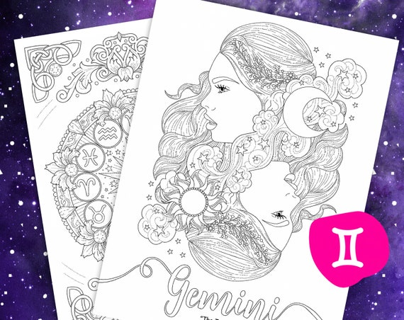 Gemini Zodiac beauty colouring page | Coloring pages, Adult ... | 452x570