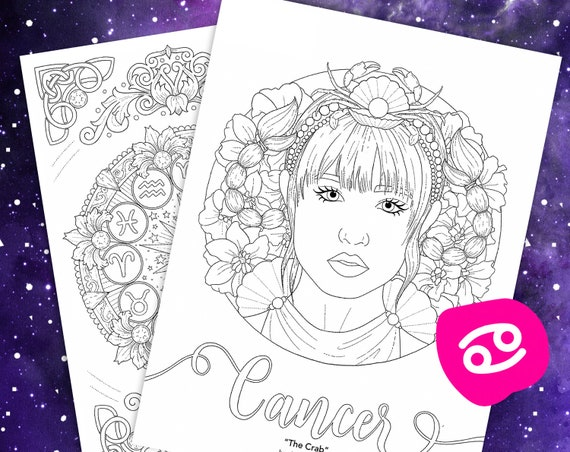 Cancer Coloring Page From Faces Of The Zodiac Printable Adult Coloring Pages Zodiac Wheel Astrology Art Digital Download