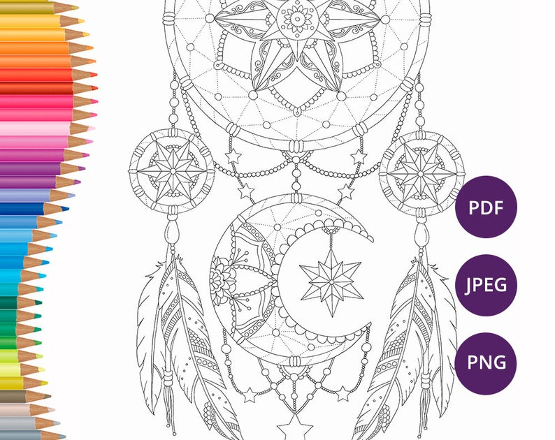 Dreamcatcher Coloring Pages Adult Coloring Book Printable Etsy
