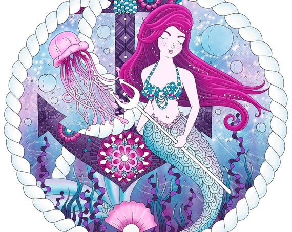 Mermaid Coloring Page For Adults Fantasy Adult Coloring Page Etsy