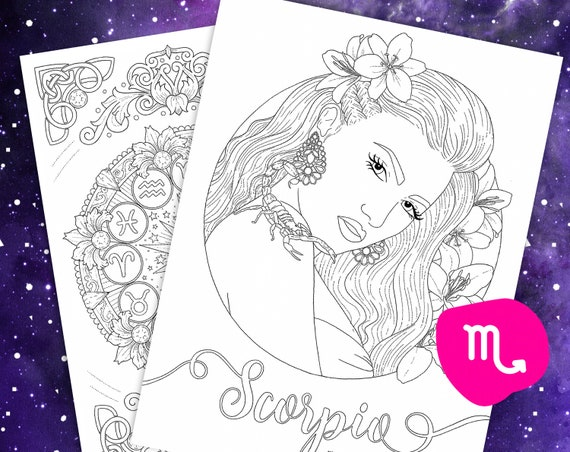 Scorpio Coloring Page From Faces Of The Zodiac Printable Adult Coloring Pages Zodiac Wheel Astrology Art Digital Download