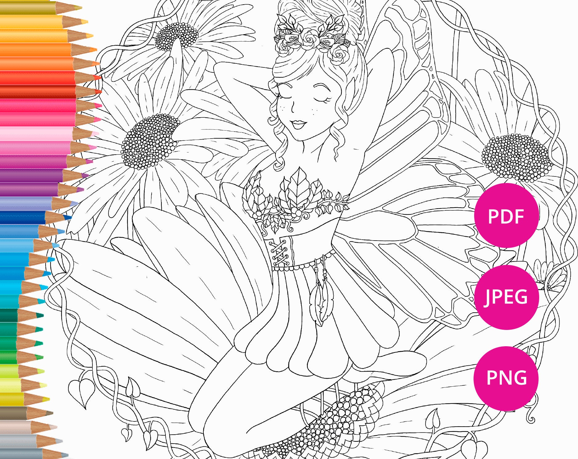 Coloriage Fee Pdf.Fee Pages Page Imprimable Coloriage Faerie Coloriages A Etsy
