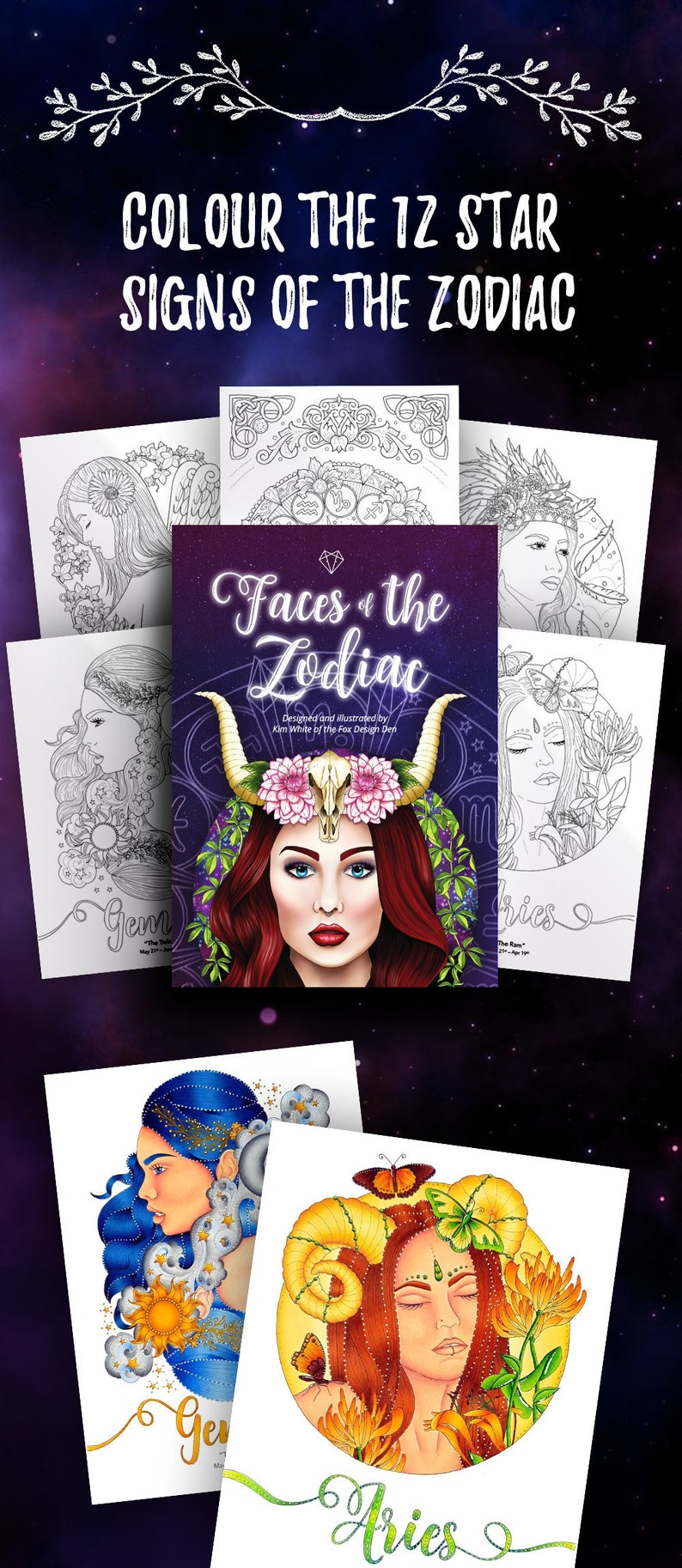 Zodiac coloring book PDF Printable adult coloring pages image 0