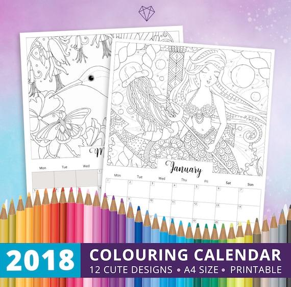 Druckbare Färbung Kalender herunterladen 2018 Kalender
