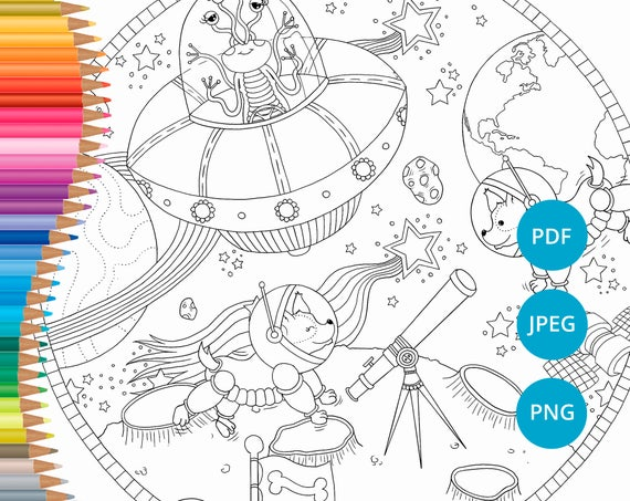 Galaxy coloring pages Printable space coloring Coloring   Etsy