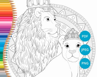 Lion Coloring Pages Lioness Adult Book Printable Safari For Adults PDF Download Mandala