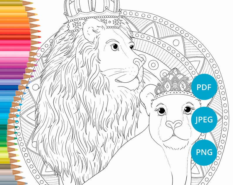 Lion coloring pages Lioness adult coloring book printable | Etsy