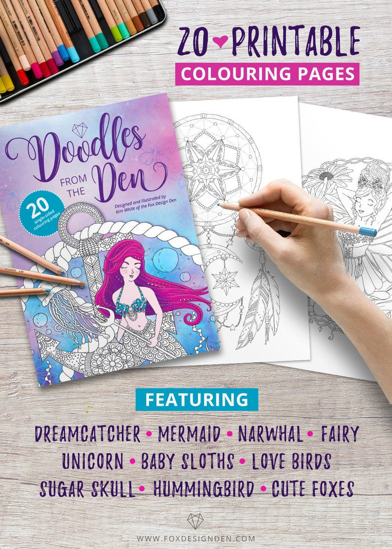 Doodles from The Den Printable coloring book pdf Digital image 0