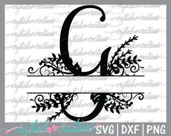 Letter G Split Monogram SVG, PNG, DXF, Regal Split Alphabet, Vector Files for Silhouette,  Silhouette Studio, Ready to Cut, Cricut, Laurels