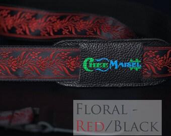 Floral Red & Black 'Ukulele Strap