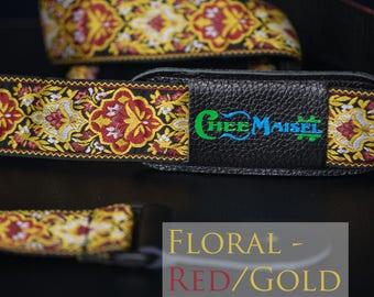 Floral Red and Gold 'Ukulele Strap