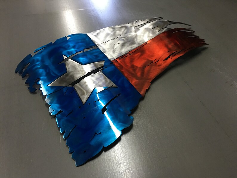 Metal Flag Tattered Texas Flag Texas Flag Wall Art Rustic Flag Lone Star Wall Decor Metal Wall Art Steel Flag Worn Flag Battle Torn