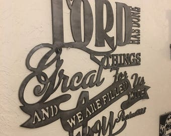 Metal scripture wall art, Psalm 126:3