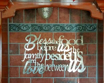 Metal scripture wall art, Bless the food before us, the family beside and the love between us