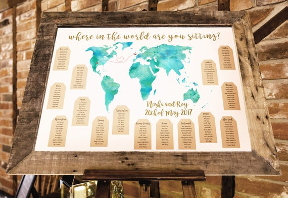 World Map Travel Themed Wedding Seating Plan Made And Etsy