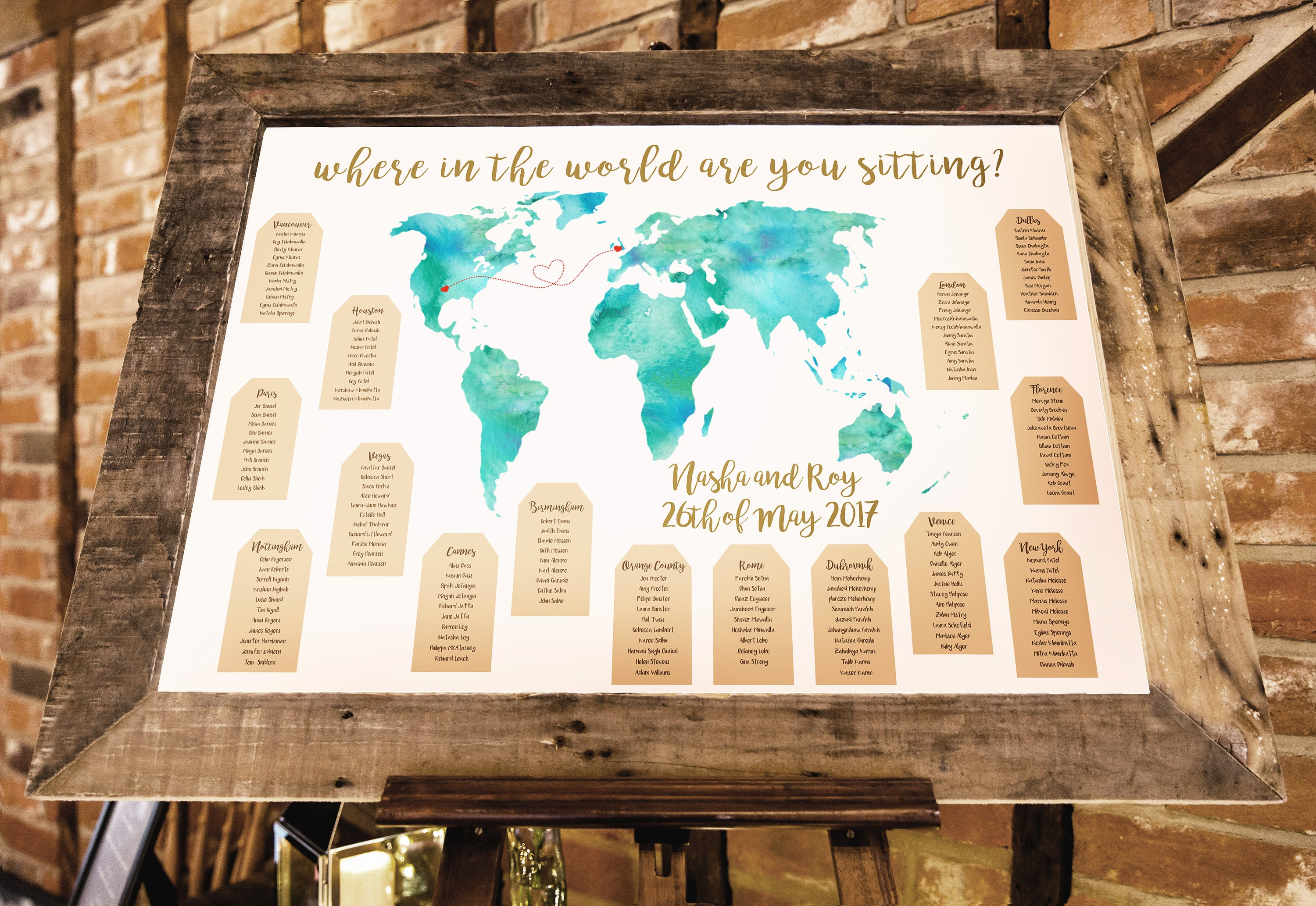 World map travel themed wedding seating plan made and | Etsy