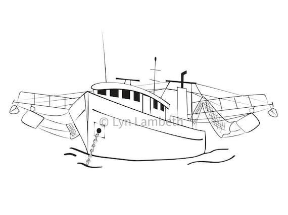 Shrimp Boat Svg Instant Download Hand Drawn Digital Boat Etsy