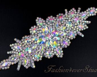 XR350 Crystal AB Rhinestone Appliques Mirror Pair Gold Beaded Clothing Patch