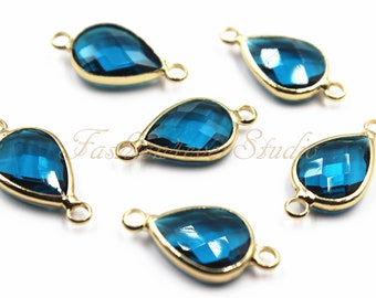 Faceted Crystal Glass Connector Bead 2pcs 10x14mm Jet Black Crystal Tear Drop With Gold Plated Brass Bezel Double Bail Connector Beads