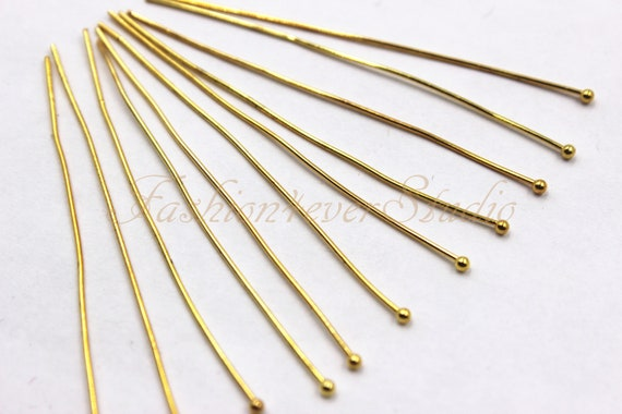 100 Pcs 45mm Gold Plated Ball Head Pins Jewellery Craft Findings Beading B77